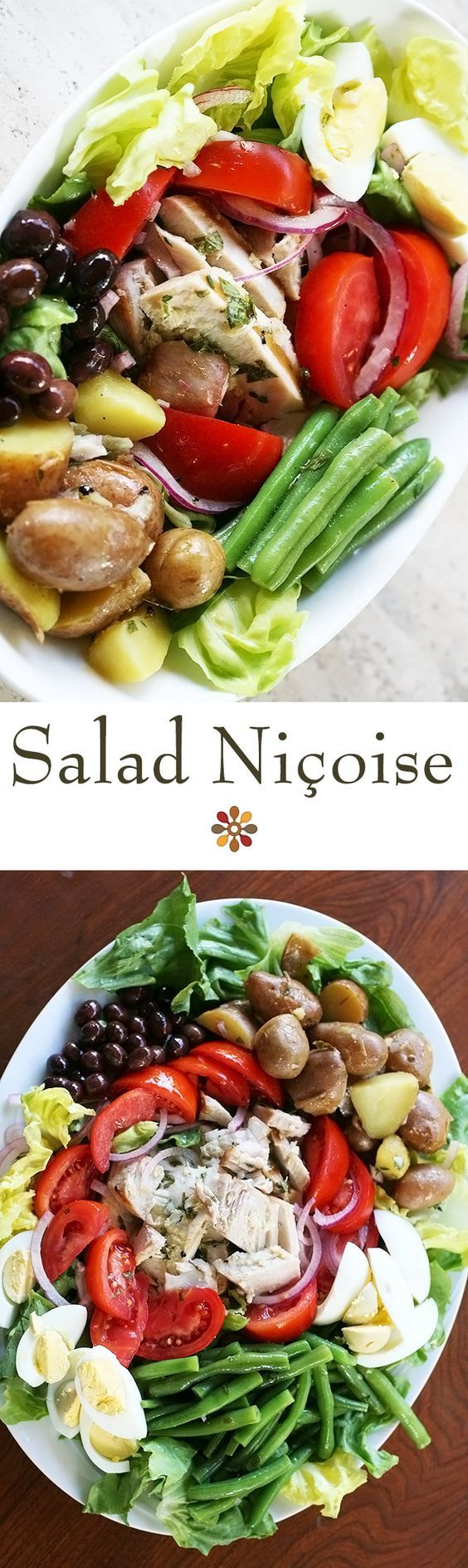 Nicoise Salad ~ Great salad for a summer holiday gathering! A French composed salad with tuna, green beans, hard boiled eggs, tomatoes, onion, capers, and potatoes. ~ SimplyRecipes.com