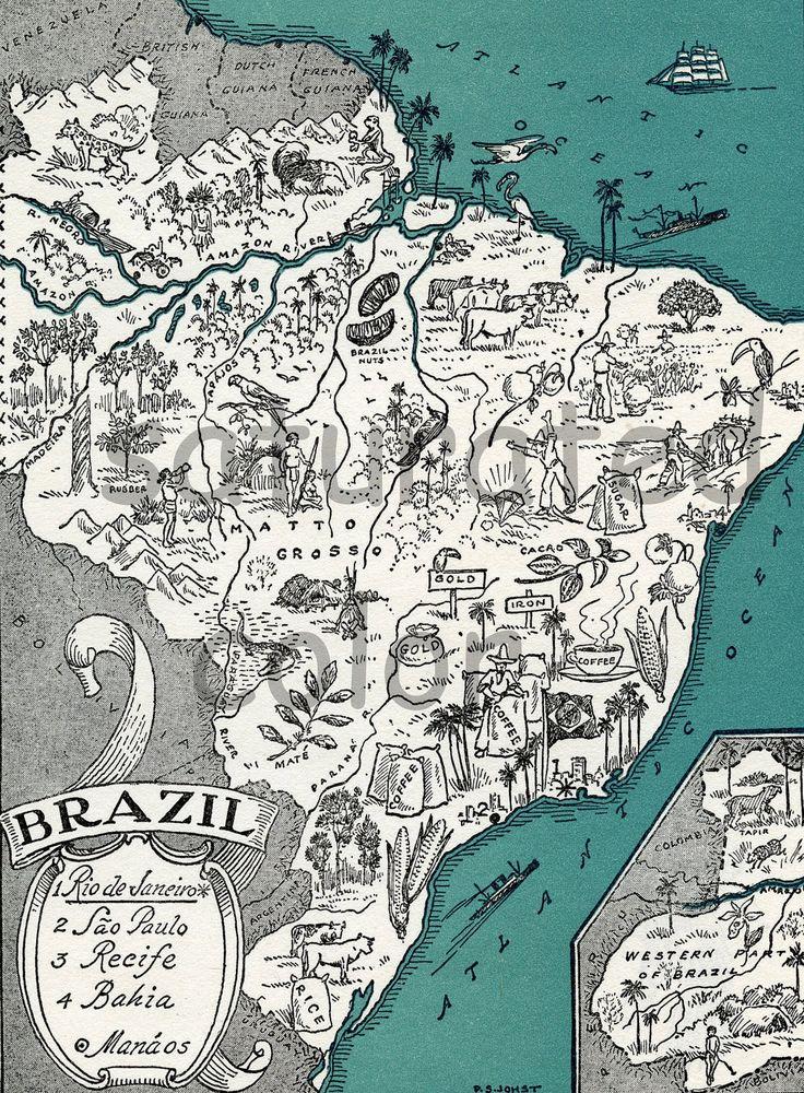 bahia brazil illustrated map