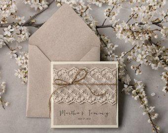 Wedding Invitation Grey Recycling Paper, Ecru Lace Wedding Invitation, Pocket Fold Rustic Invitation , Shabby Chic Wedding invitation,