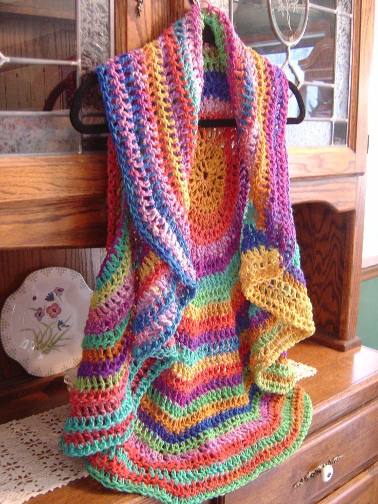 ROY G BIV Psychedelique crocheted circular vest. $42.00, via Etsy.