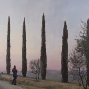"""""""Judy Drawing Her Cypresses (Nature as Teacher)"""", 2015, oil on panel, 36"""" x 33.5"""""""