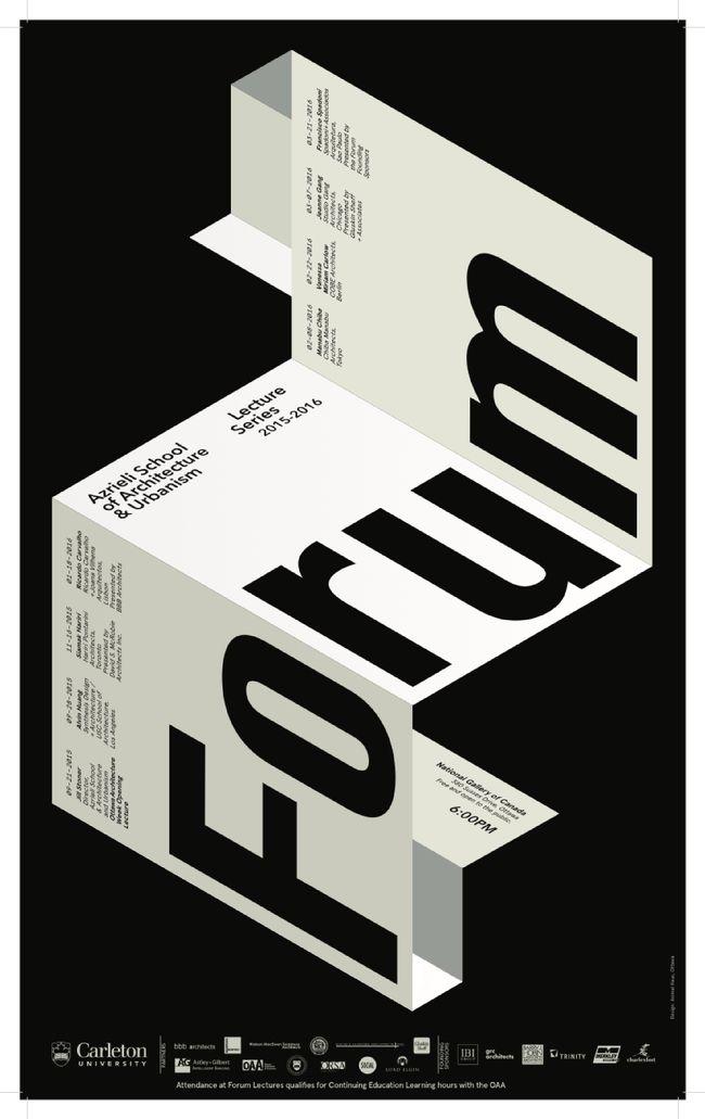 """Forum"" lecture series. Poster courtesy of Azrieli School of Architecture & Urbanism, Carleton University."