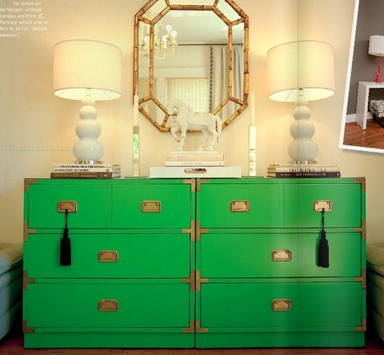 paint some Ikea stuff glossy bright colors, get some great pulls and corner brackets, maybe even a little decorative touch or monogram or decoupage in a spot...