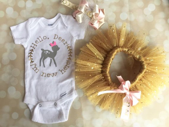 Newborn Tutu Outfit - Newborn Photo Outfit - Baby Girl Tutu - Gold Sparkle Tutu - Personalized Outfit - Matching Bow - Pink and Gold - Deer