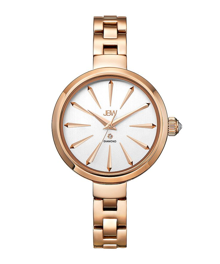 Emerald 18ct rose gold-plated watch - JBW