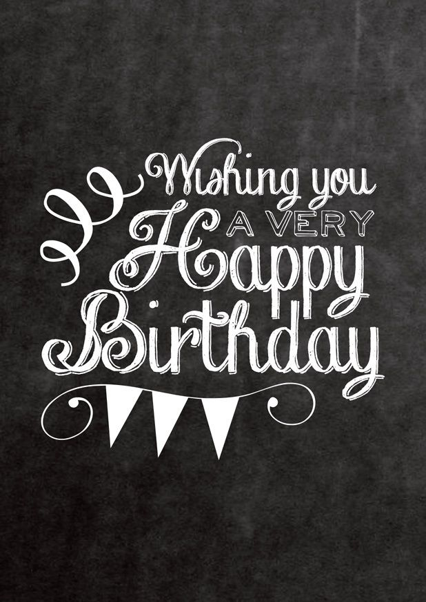 Chalkboard Happy Birthday Card. Printable design