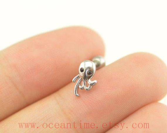 octopus Tragus Earring Jewelry little octopus piercing by OceanTime, $4.99 I LOOOOOOOOOOVVVVVVVVVVVVVVEEEEEEEEE THIS!