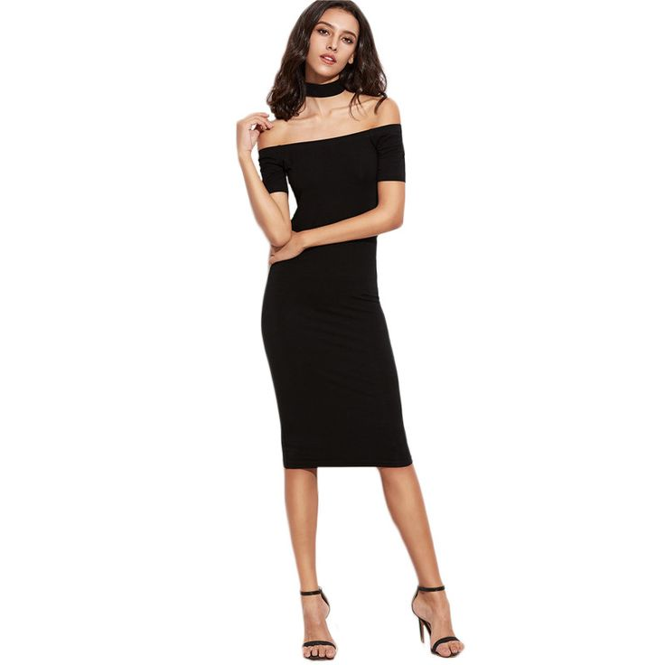 SheIn Womens Sexy Party Night Club Dress Womens Dresses New Arrival Black Off The Shoulder With Choker Pencil Dress