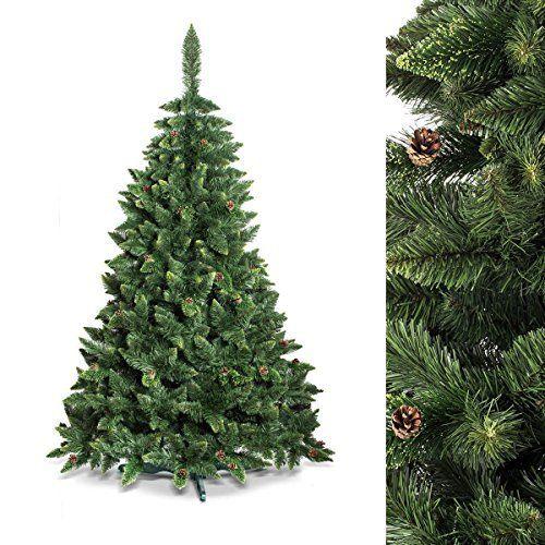 FAIRYTREES Arbre de Noël artificiel PIN, vert nature, matériau PVC, véritables pommes de pin, avec pied, 120cm, FT03-120