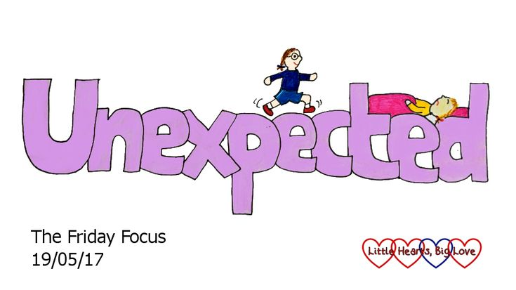 "Unexpected - this week's word of the week. A doodle of the word ""unexpected"" with a cartoon Jessica running along the top and a cartoon Sophie asleep between the 't' and 'd'"