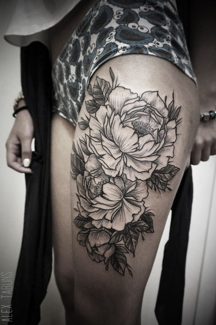 Flower thigh tattoos women fashion and lifestyles - Find This Pin And More On Tattoos By Hhale62798 Blackwork Style Flowers On The Thigh