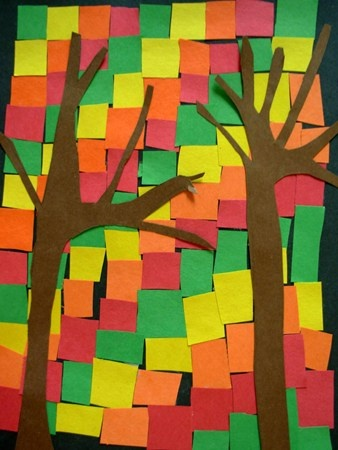 Fall tree mosaic-use paper scraps like wrap…how fun do one for each season!