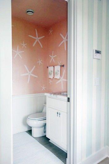A DIY stenciled nautical bathroom using the Starfish Wall Stencil from Cutting Edge Stencils. http://www.cuttingedgestencils.com/starfish-stencil-beach-decor.html