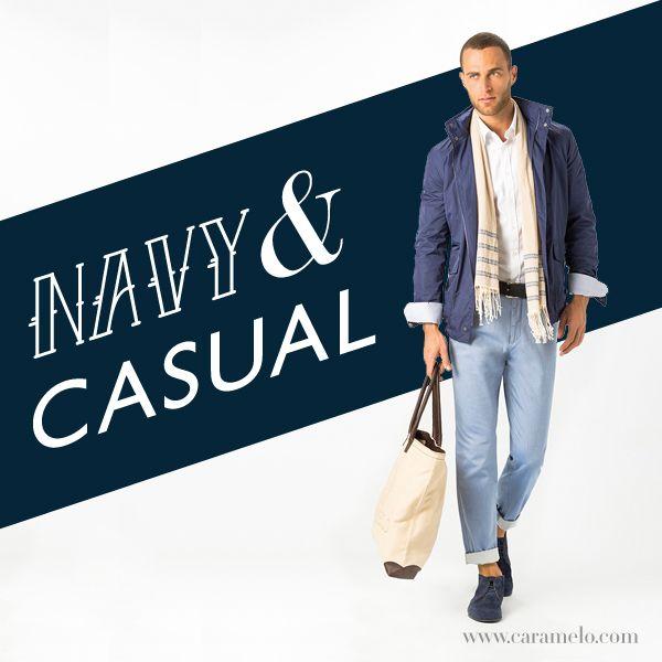 Navy y casual. ¿Quién dice que un lunes no puede ser diferente? #tendencia #moda #look