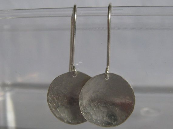 Sterling Silver Hammered Dangle Earring by ZaZing on Etsy, $25.00