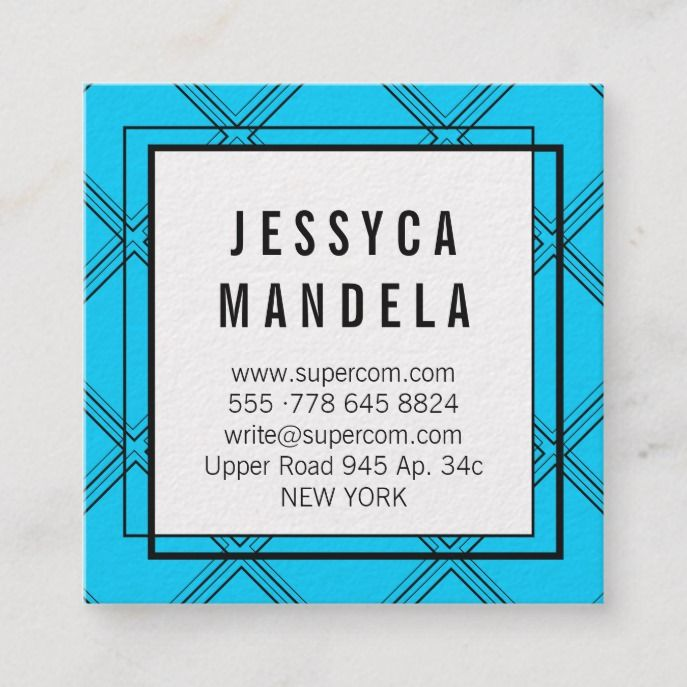 Blue Blue Black Appointment Card Custom #Square #Businesscard