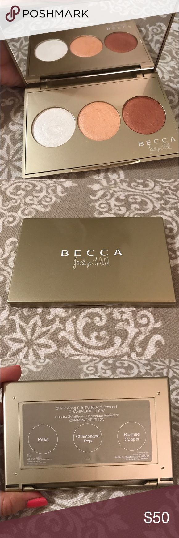 Becca x Jaclyn Hill Champagne Glow Palette ❤️   100% Guaranteed Authentic!     I Ship the Same or Next Day ❌   NO TRADES ❗️❗️❗️  • Authentic Becca highlighter palette purchased from Sephora. No longer being sold. Shades include Pearl, Champagne Pop, and Blushed Copper. Only used a few times. Will package carefully to not break. BECCA Makeup Luminizer