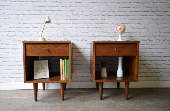 This listing is for a pair. For a single one, please contact us for a quote  Beautiful and stylish nightstands inspired by the straight lines and warmth of mid century modern furniture.  Made with solid cherry and stained in Danish Teak color  Size is 18L x 18.75D x 24H (legs 8, body 16)  One full extension drawer  Chrome knobs Handmade in New York supporting local businesses and fair labor.  Custom sizes and colors also available Free delivery in NYC and some areas of NJ Everywhere else $75…