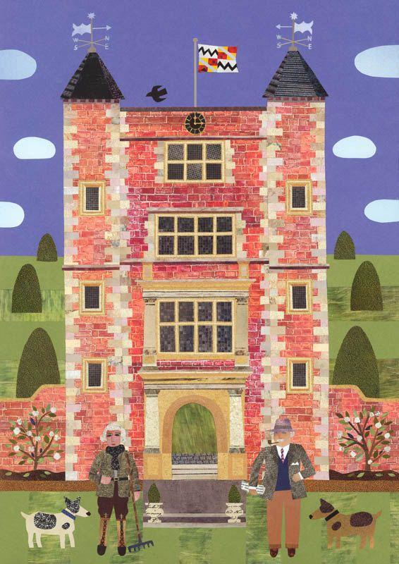 Bloomsbury Group - Sissinghurst - Vita Sackville-West - Naive Art Print - Gift for Book Lovers - Garden - Castle - Dogs - Stately Home