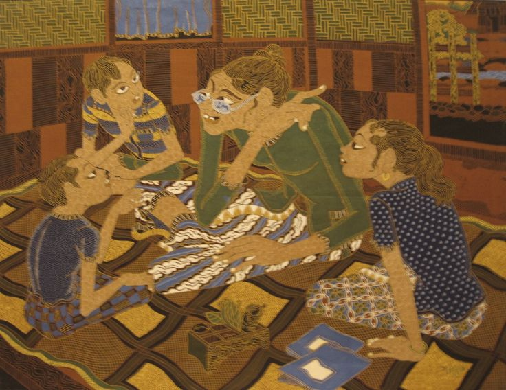 Modern batik painting depicting a grandmother who talks to her grandchildren. The painting has shades of brown, blue and green by F. Agus, Indonesia. Museon, CC BY