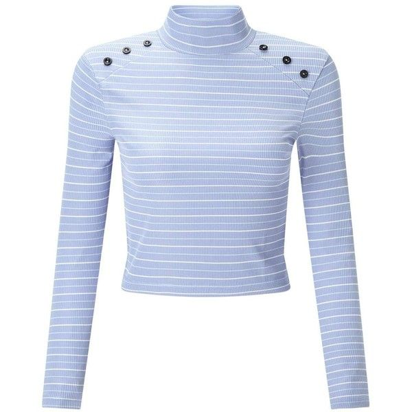 Miss Selfridge PETITE Blue Button Roll Neck T-Shirt ($32) ❤ liked on Polyvore featuring tops, t-shirts, blue, petite, stripe tee, striped long sleeve t shirt, petite long sleeve t shirts, stripe t shirt and petite tee