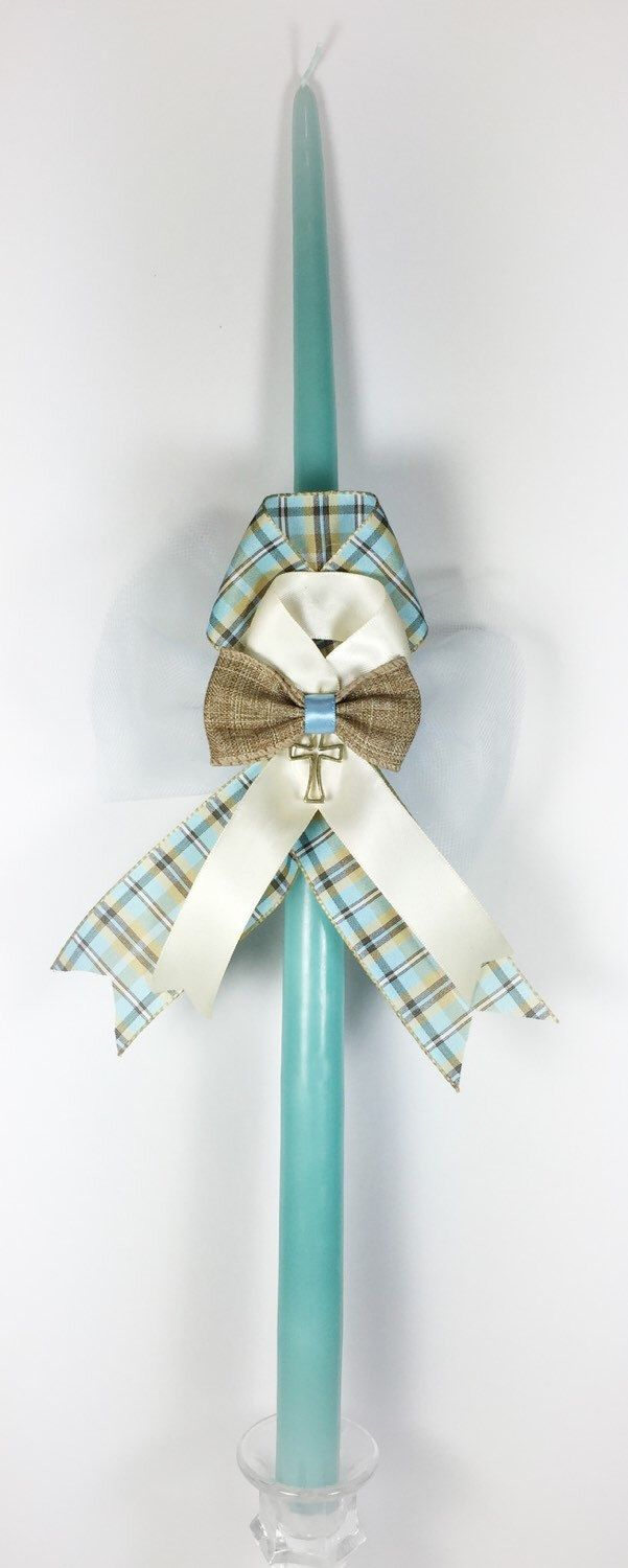 A personal favorite from my Etsy shop https://www.etsy.com/listing/167830325/plaid-greek-easter-candle-lambatha