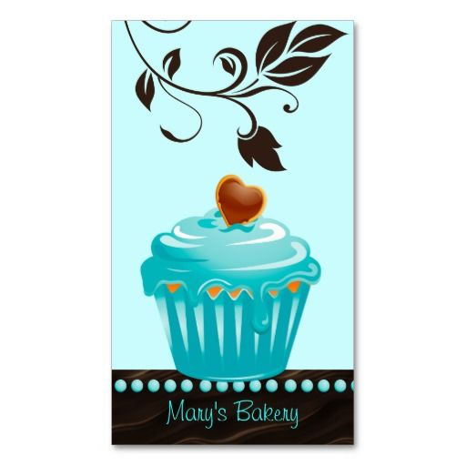 Bakery leaf cupcake blue chocolate brown business cards $28.95 per pack of 100!!!