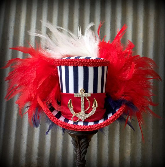 Mini Top Hat, Patriotic Hat, 4th of July, Red white and blue hat, Alice in Wonderland Mini Top Hat, Sailor hat, Mad Hatter Hat, Nautical hat