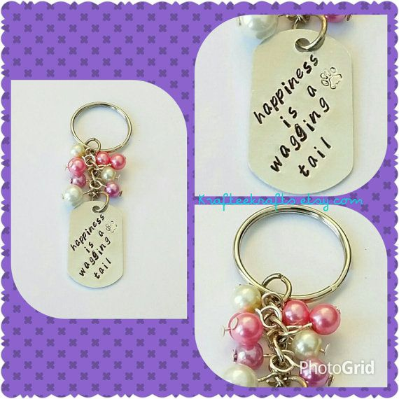 Small beaded keyring, hand-stamped rectangle, beaded keychain, family gifts, personalised, inspirational quotes, gifts for her, dog quotes