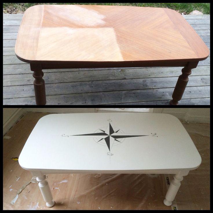 Soffbord kan vara så sjukt dyra, så varför inte göra nått gammalt till nått nytt! Slipade upp och målade om bordet i vitt, sen skissa jag med blyerts en kompassros (tips linjal) och målade linjerna med smala små penslar. #marint