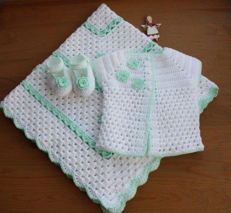 CROCHET BABY SET. Crochet Baby Vest, Baby Babettes, Baby Blanket. Crochet Baby Blanket. White Baby Set. Triple Set. Baby Shower. Baby Gift.