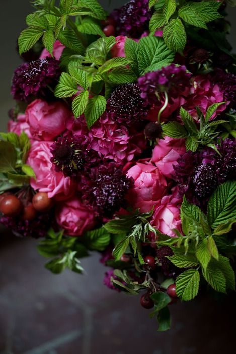 domestic & Wild. Notice the texture of the bramble leaves with the delicate Roses.Magenta Floral Arrangement