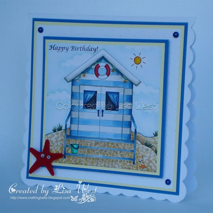 Birthday card made using the Beach Hut digi stamp from Little Claire