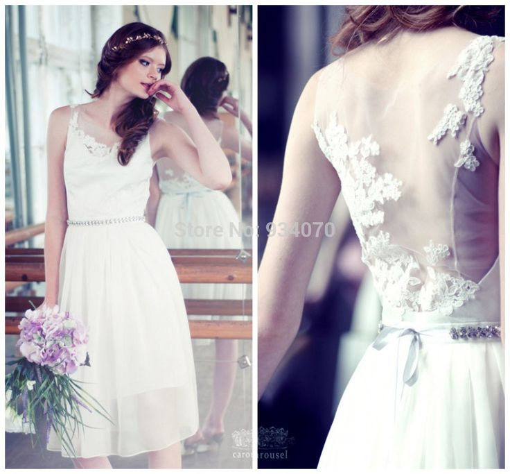 New Find More Wedding Dresses Information about Most Popular Scoop Neckline Closed Back A Line Short Garden