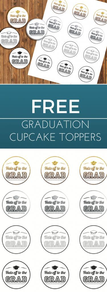 Free Printable Graduation Cupcake Toppers - simple and easy! Use card stock or stickers and our free high resolution downloadable PDF.