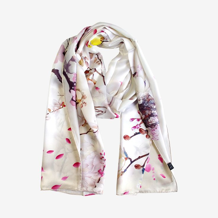>> Click to Buy << Aishidis Lady Luxrious Long Silk Scarf Scarves Pashmina Cool Feeling Prunus Mume Black-billed Magpie Print P Hand Rolled #Affiliate