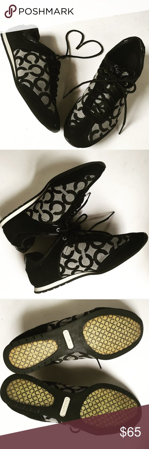 Black Coach Sneakers Black coach sneakers have been wore but in great condition!!! Coach Shoes Sneakers