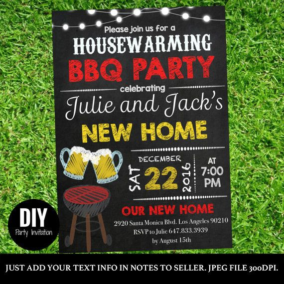 Chalkboard House warming BBQ party printable by DIYPartyInvitation