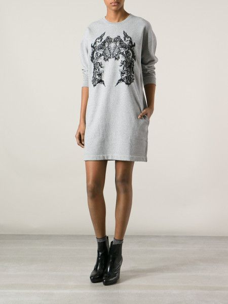 Mcq By Alexander Mcqueen Embroidered Lace Sweatshirt Dress in Gray ...