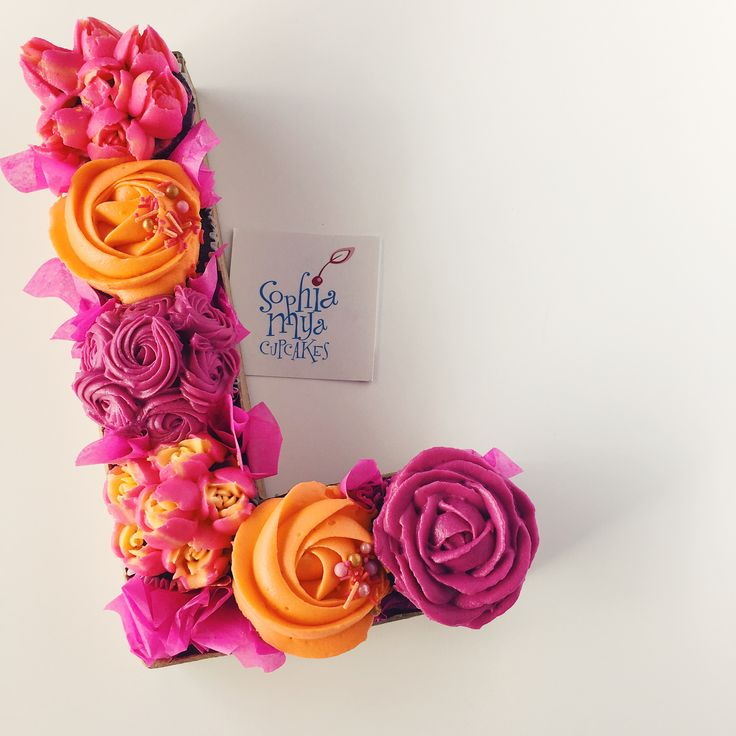 Floral Monogram Cupcakes