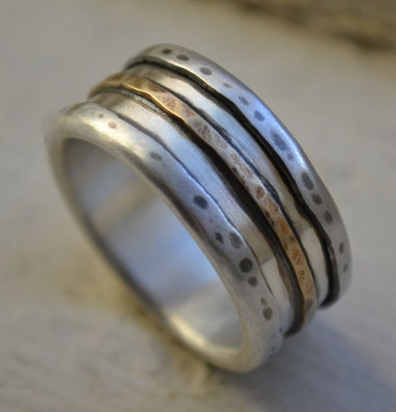 mens wedding band medieval oxidized fine silver and 14k yellow gold ring handmade artisan designed wedding band customized - Artisan Wedding Rings