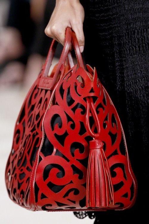 Red laser-cut bag