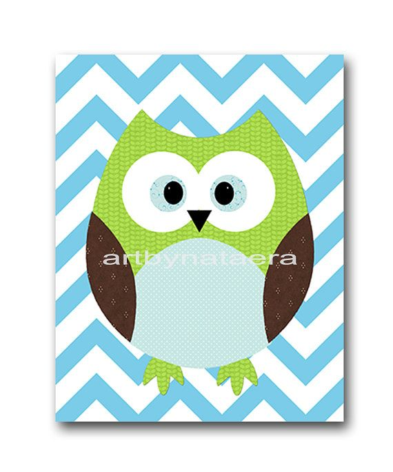 Owl Decor Nursery Baby Boy Kids Wall Art Room Print Blue Green Brown