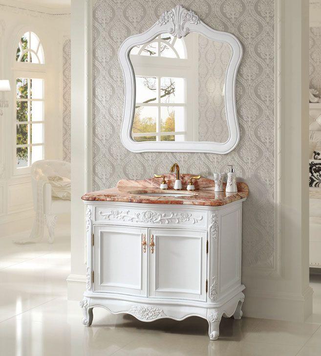 Art Antique 39 Inch Single Sink Bathroom Vanity Micro Crystal Glaze Marble Top