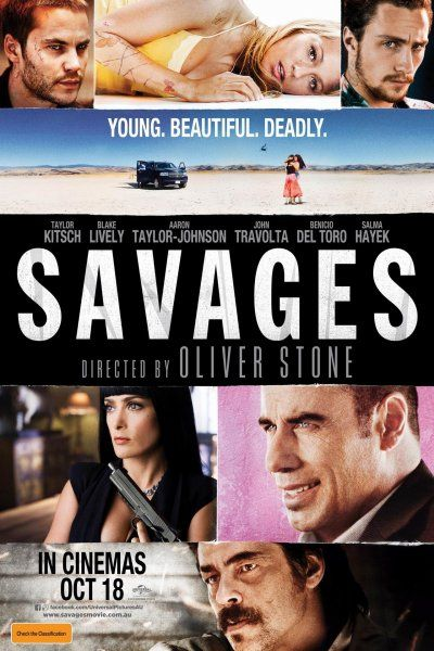 Starring Taylor Kitsch, Blake Lively, Aaron Johnson, John Travolta, Benicio Del Toro and Salma Hayek, «Savages» is a Thriller film directed by Oliver Stone, and written by Shane Salerno, Don Winslow.