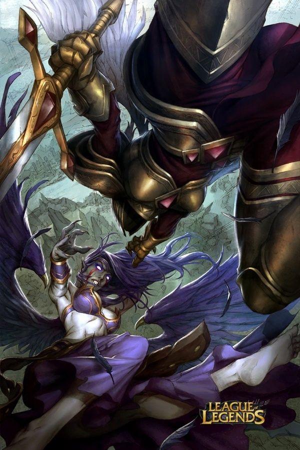 Kayle vs Morgana Battle Art League of Legends courtesy of Riot Games 2012 Illustration: Alvin Lee Digital Colors: Tobias Kwan