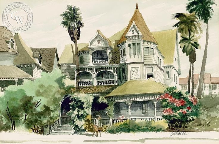 Victorian House, art by Jake Lee – California Watercolor