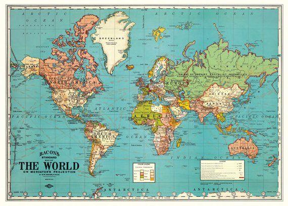 Grand imprimé encadrée-style vintage carte photo art Europe GLOBE ATLAS