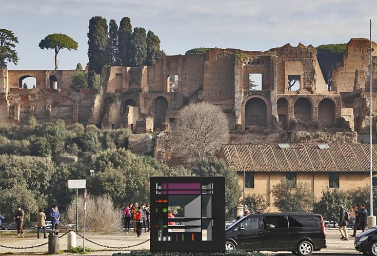 """The """"Two-sided Monolith,"""" an homage to Mondrian by Roman artist Francesco Visalli, was illegally set up alongside the Circus Maximus and Palatine Hill in November 2013 and stood there until it was noticed and then removed in late January 2014."""