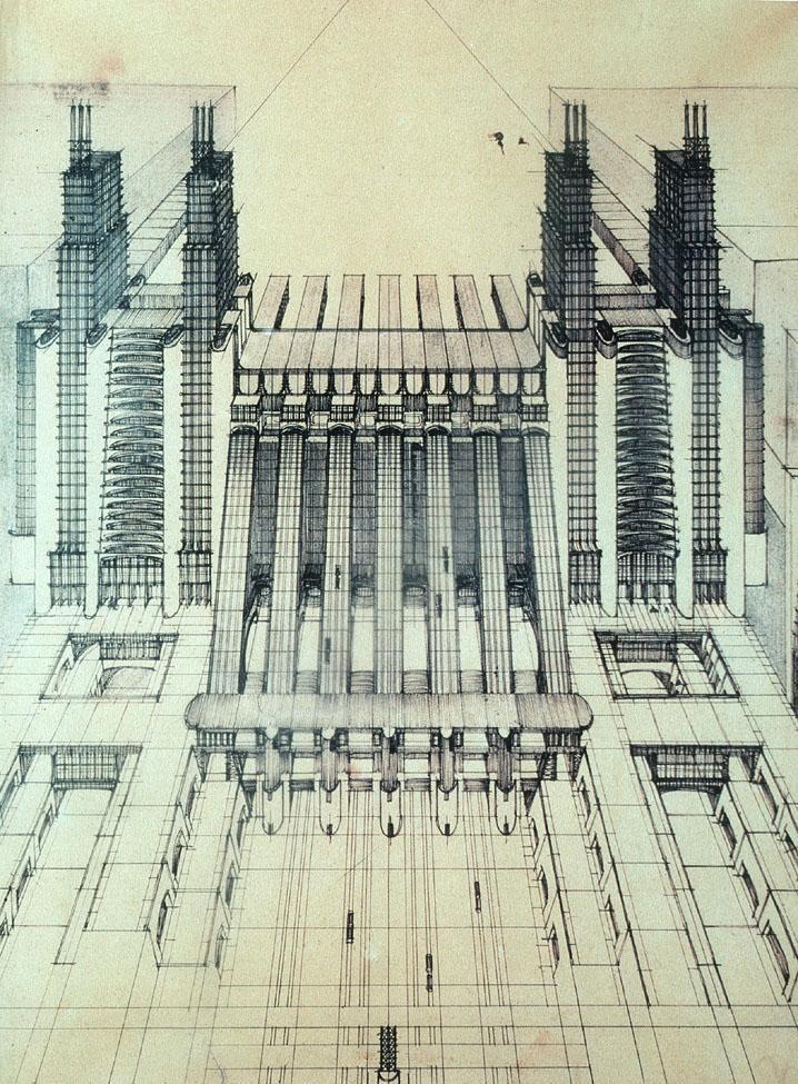 Antonio Saint'Elia / 1888-1916 / Italien Architect / La Citta Nuova-1914-Central Station Project